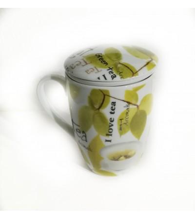 """Tazza per infusi con filtro """"I love tea"""""""