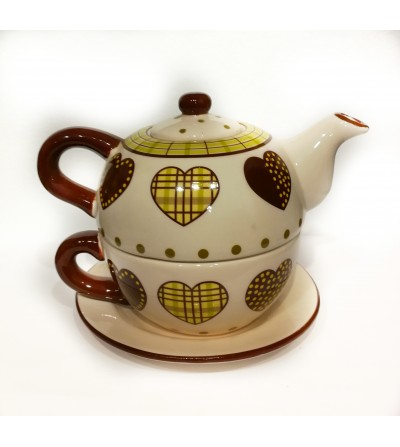 Tea for one teiera con tazza a cuori
