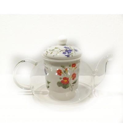 Teiera trasparente con tappo e filtro