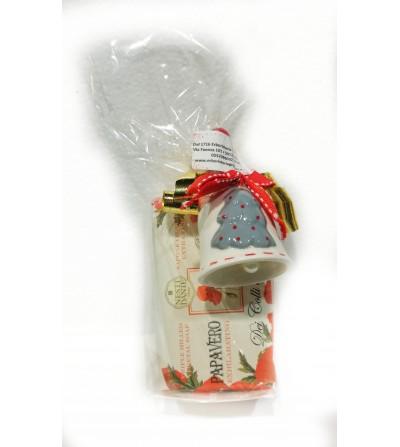 Regalo Sapone Papavero con campana in ceramica